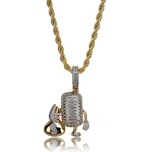 Copper Hip Hop Microphone Pendant Necklace Paved Cubic Zirconia Cartoon Charm Necklaces Jewelry for Men and Women