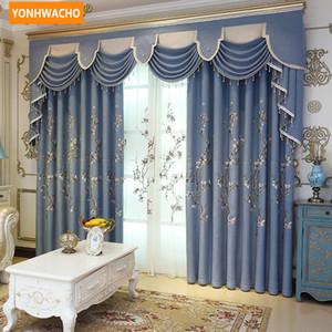 사용자 정의 커튼 고급 신선한 간단한 중국 거실 수 놓은 파란 천으로 정전 커튼 얇은 명주 valence 드레이프 N756