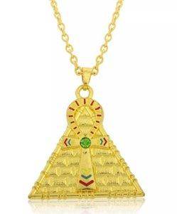 Tropfenverschiffen-Reihen-stilvolle goldene Überzug emaillierte Ankh Kreuz-Pyramiden-hängende Halsketten-ägyptische Halsketten-Schmucksachen