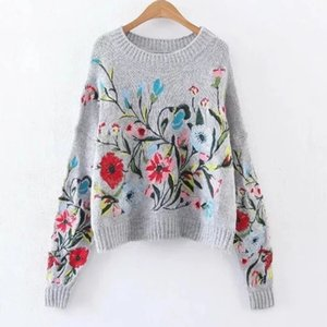 LANMREM 2018 Otoño de Corea del otoño moda nuevo color sólido cuello redondo manga completa bordado suéter mujeres V74702