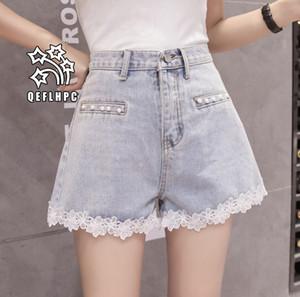 Shorts en denim Pantalons larges pour femmes Vêtements Jeans pour femmes Vêtements de mode décontractés Pantalons de cowboy Shorts en denim Dentelle A6221 #