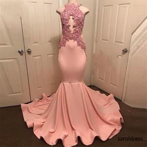 Neckholder ärmellos Robe De Soiree Partei-Kleid Abiye Pfirsich-Rosa-Nixe-Abschlussball-Kleider SpitzeAppliques lange Abschlussball-Kleid-formales Kleid