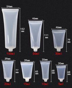 50 pcs / lot 5 ml 10 ml 15 ml 20 ml 30 ml 50 ml 100 ml en plastique transparent tube souple vide émulsion crème cosmétique contenant des contenants d'emballage