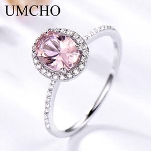UMCHO Luxo Criado Oval Rosa Safira Anéis Real 925 Anéis De Casamento Banda De Prata Esterlina Para As Mulheres Cocktail Jóias Finas Y1892704