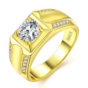 Mens Anéis Tamanho 7,8,9,10,11,12 Double Rows Diamond Jewelry Gold-Plated Homens Anel De Casamento Branco Material De Cobre Não Desaparecer