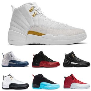 High Quality 12s OVO White Gym Red Dark Grey Basketball Shoes 12 Men Women Taxi Blue Suede Flu Game CNY Sneakers With Box