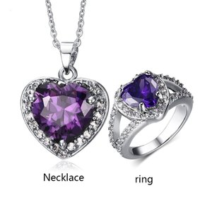 Heart of The Ocean Necklace and Ring Jewelry Sets for Women Purple Crystal Jewelry Sets for Woman Gift