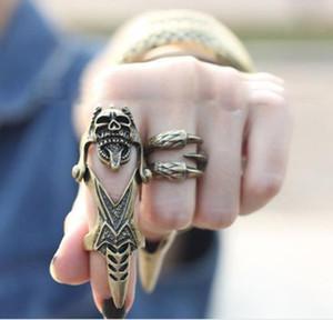Estilo ocidental Acessórios Para As Mulheres Moda Jóias PUNk Rock Individualidade Retro Crânio Knuckle Anéis Cor De Cobre 12 pçs / lote