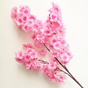 Plástico Artificial Cherry Blossom Branch Fake Flower Tallo Más cabezas de flores 12 colores para la boda Sakura Tree Decoration