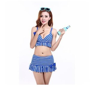 2018 Sexy Print Stripes Ladies' Split Swimsuit Skirt Style Hot Spring Lovely Bohemia Wind New Lady's Split Skirt Hot Springs