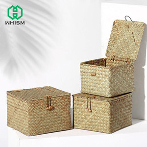 WHISM Seagrass tessute scatole di immagazzinaggio desktop quadrato con coperchio scatola di immagazzinaggio fatti a mano cestino detriti scatola cosmetica