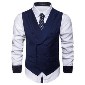 Плюс Размер Mens Vest корейской моды Мужчины Тонкий V-образным вырезом Бизнес Blazer Vest вскользь тонкий Mens Groom Tuxedos Vest J180749