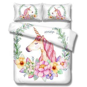 Ensemble de literie floral Licorne Ensemble housse de couette twin King Horse Imprimé Literie Ensembles Taie d'oreiller Literie Hôtel Maison Textile