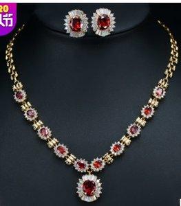 mais cor diamante cristal casamento noiva jewerly set colar ((42cm) brincos (2cm) (74)