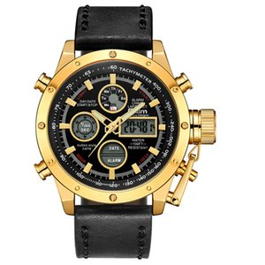 Oulm New Sport Watches Men Top  Dual Display Waterproof Wristwatch Male Leather Luminous Hands Chronograph Watch