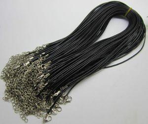 1mm 1,5mm 2mm 3mm 100 stücke schwarz einstellbar echtes echtes leder halskette schnur für diy handwerk schmuck kette 18 '' mit Hummerschließe