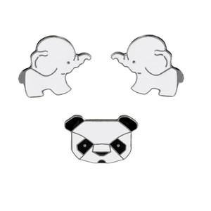 Animaux De Bande Dessinée De Mode Broches En émail Pins Set Cute Panda Éléphant Pins pour Vêtements Sacs Badges De Mariage Épinglettes Pins