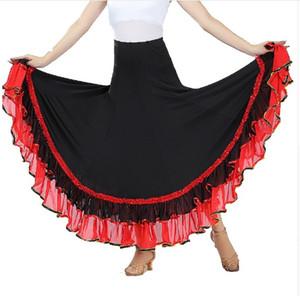 Kostenloser Versand Flamenco Kostüm Rock Walzer Tango Dancewear Ballroom Dance Kleid Moderne Standard Outfits für Frauen Röcke 6 Farbe Schwarz Blau