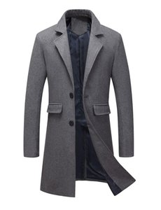 Casual Warm Mens Long Coats 2018 Winter Turn Down Collar Solid Wool Blend Coat and JacketFashion Single Breasted Male Coats