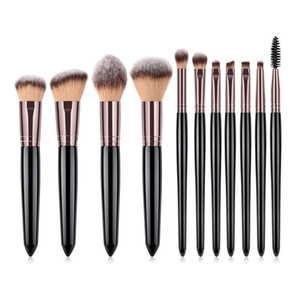 11 teile / satz Klassische Schwarz Make-Up Pinsel Set Holzgriff Glitzern Make-Up Pinsel Kit Foundation Wimpern Augenbraue Concealer Kosmetik Pinsel