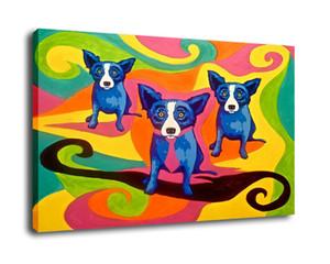Blue Dog George Rodrigue animal, pintura a óleo reprodução de alta qualidade giclée na lona Modern Home Decor Art G053