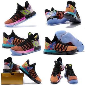(Com caixa de sapatos) Mens Kevin Durant 10 X O Que O Confetti Multicolor Tênis De Basquete KD 10S Tia Pérola Arco-íris Azul Branco calçados esportivos