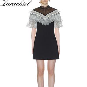 New Summer Self-Portrait Crepe Dress Cloak Style Party Vestidos Donna Vintage Lace Mesh Stitching Ruffles Dot Mini Cape Dress