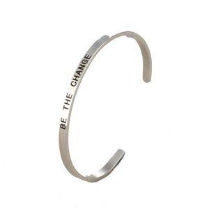 DIY нержавеющей стали ювелирные изделия алфавит надписи быть изменение манжеты вдохновляющие браслет ювелирные изделия