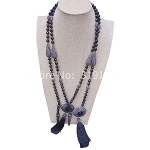 Модная кисточка заслуживает того, чтобы заслужить роль ожерелья женский черный агат длинная модель 100 взять