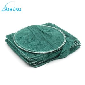 Bobing 3.2m Protable Foldable Fishing Net With Plummet Pot Cage Crab Fish Crayfish Lobster Catcher Fishing Tackle Square Circle