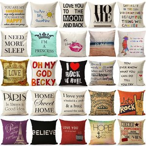 45x45 Cm Yastık Örtüsü Ev Tatlı Yastık Kılıfı Pamuk Keten Sunshine Aşk Mektubu Yastık Kanepe Yatak Odası Dekoratif Yastık Örtüsü