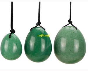 3 stücke Natürliche Grüne Aventurin Jade Ei für Kegel Übung Beckenboden Muskel Vaginaltrainer Gebohrt Yoni Ei Ben Wa Ball