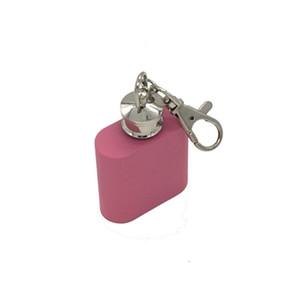 Rose Couleur 1 oz Mini Hip Flask Portable Liqueur Vin Pot En Acier Inoxydable Métal Hip Flask Voyage Whisky Bouteille avec Porte-clés En Gros