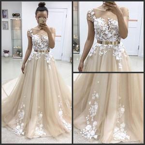 TULLE BALL Robe de plancher longueur Champagne avec robes de soirée blanche oirée encolure encolure manches manches en dentelle jupe appliquée et robe de bal de corsage