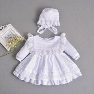Vendita al dettaglio Baby Girl Dress Manica Lunga Battesimo Abito Primo Compleanno Vestito per la festa nuziale + Cappello Abbigliamento Infantile E211
