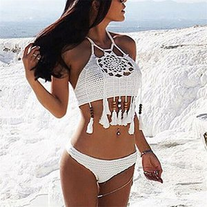 Kadınlar Siyah Beyaz El yapımı Yıkanma Halter Boncuklu Püskül Örme Bikini Tığ Crop Top Seksi Crochet swimwears Out oymak Suits