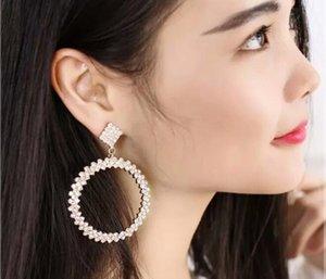 Hot orecchini a cerchio grande cinque centimetri 7 centimetri clip Trendy argento pietra di cristallo dell'oro sul nuovo cerchio di modo di Huggie all'ingrosso popolari orecchini esagerati DHL