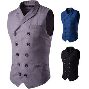 2018 패션 새로운 남자 비즈니스 캐주얼 양복 조끼 / 남자 옷깃 디자인 더블 브레스트 조끼