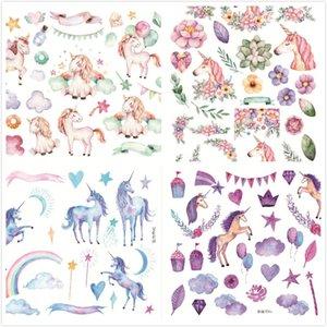Bonito Unicórnio Sonho Aquarela Hand Painted Handbook Adesivo Livro Decoração Notebook Jornal Adesivos Autoadesivos Gum Adesivo