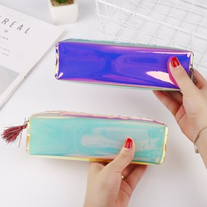 Korean New Style Creative Large Volume Cool cil Bag Transparent Color Pencil Bag Student Stationery Box