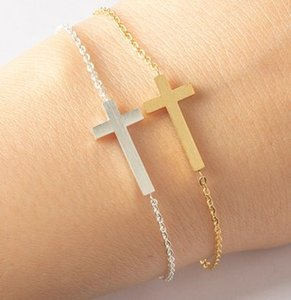 Fashion Women Men Stainless Steel Cross Simple Charm Bracelet 2 colors Silver Gold bracelets & bangles For Gift