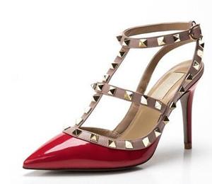 2018 fetiche vermelho fundos de salto alto mulheres sapatos sapatos de casamento rebite mary jane bombas escarpins femme senhoras lolita gladiador sandálias mulheres