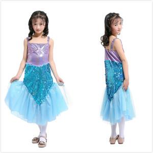 Mädchen Lila Blau Pailletten Meerjungfrau Schwanz Mitte Kalb Mesh Garn Sling Kleid Prinzessin Kleid Halloween Kind Leistung Kostüme Xmas Party Kleider