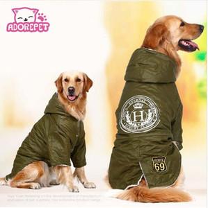 köpek için Ordu yeşil Kış Sıcak büyük büyük Köpek Pet Giyim kapşonlu polar golden retriever köpek pamuk yastıklı ceket ceket giyim