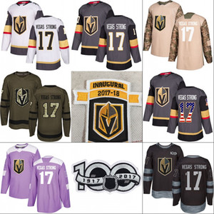 # 17 Vegas Strong Jersey avec Patch Centennial inaugural de 2018 Vegas Golden Knights Vegas Hockey Strong Hockey Sweats Sweats Jerseys T-shirts Mélanger