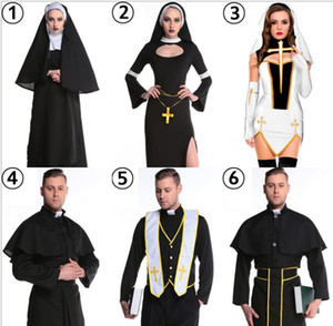 New Lovers Polyester Maria Priest Halloween Masquerade Cosplay Jesus Christ Costume Woman's Black Sexy Nun Robes