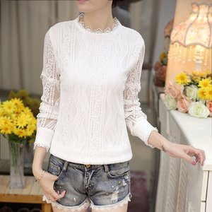 2018 Sprig autumn Women Top Long Sleeve high qualify White Lace Blouse Femme Hollow Out Shirt Transparent Coon Blusas 501A