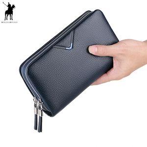 Herrenhandtasche WILLIAMPOLO Kupplungs-Mappen-echtes Leder-Klappen-Handtasche Reißverschluss Handschlaufe Kupplungen Mann-Geldbeutel-Rind Geschenk