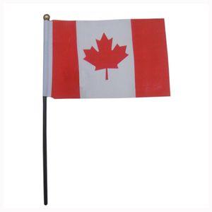 100% poliéster de la mano que agita la bandera, 14 * 21cm Canadá bandera del país, tamaño mini bandera de la mano de alta calidad 100PCS / LOT