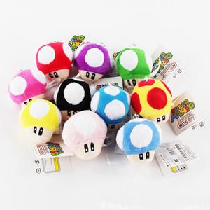 """톱 새로운 10 Styels 3 """"7CM 슈퍼 마리오 브라더스 버섯 봉제 인형 애니메이션 소장 열쇠 고리 펜던트 인형 선물 장난감"""
